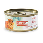 Comida húmida para gatos Breed Up Adult de atum com salmão e arroz