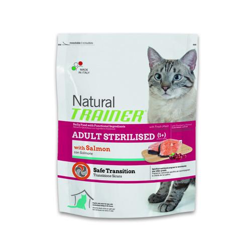 Natural Trainer Feline Adult Sterilised Salmón ração para gatos