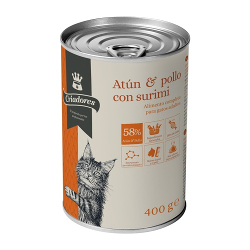 Alimento húmido para gatos Criadores atum com frango, surimi e arroz 400 gr