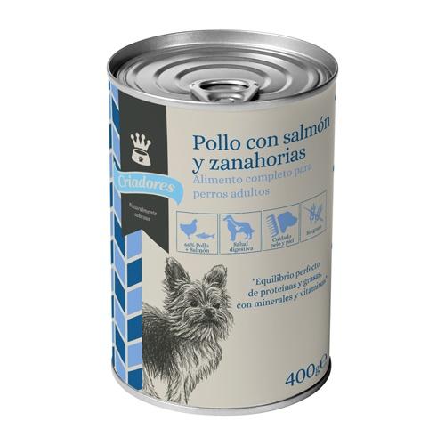 Alimento húmido para cães Criadores frango e salmão com cenoura 400 gr