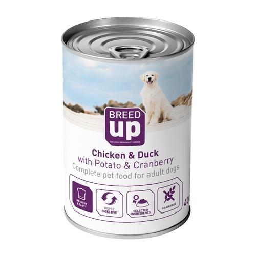 Alimento húmido para cães Breed Up Adult frango e pato com batatas e mirtilos 400 gr