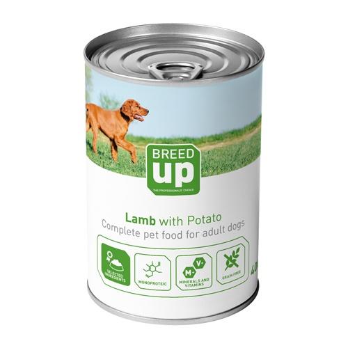 Alimento húmido para cães Breed Up Adult cordeiro com batatas 400 gr