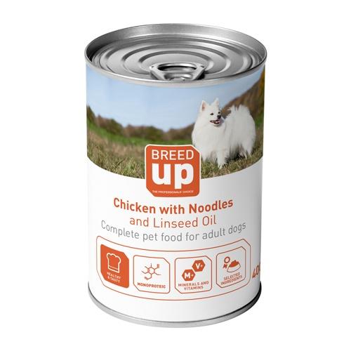 Alimento húmido para cães Breed Up Adult frango com esparguete e óleo de linhaça 400 gr