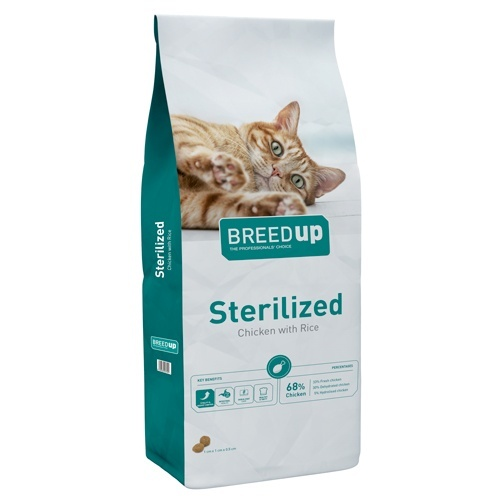 Ração superpremium para gatos Breed Up Sterilised com frango
