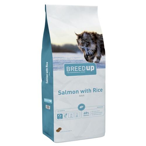 Ração superpremium para gatos Breed Up Adult Salmão com salmão