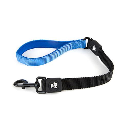Trela curta para cães TK-Pet Shock Control azul com pega em neopreno