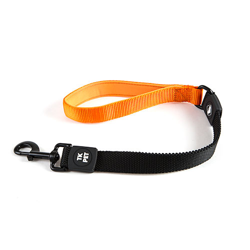 Trela curta para cães TK-Pet Shock Control cor de laranja com pega em neopreno