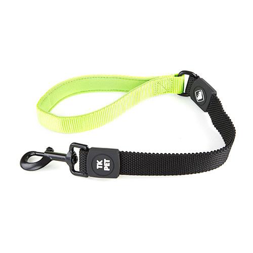 Trela curta para cães TK-Pet Shock Control verde lima com pega em neopreno