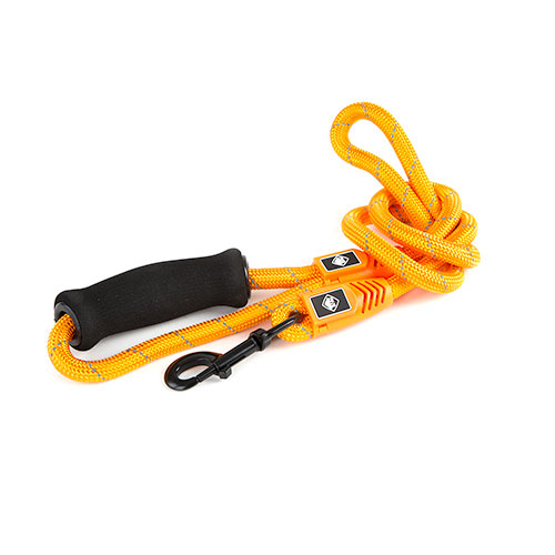 Trela para cães de nylon redondo TK-Pet Reflective Rope laranja com pega