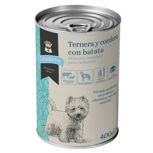 Comida húmida para cachorros Criadores de cordeiro e vitela com batata doce