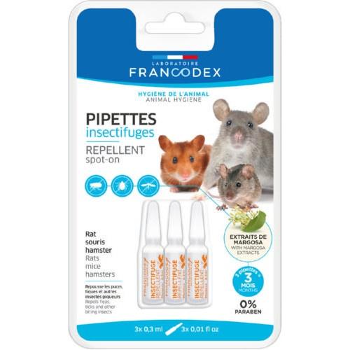 Pipetas antiparasitárias naturais para roedores Francodex