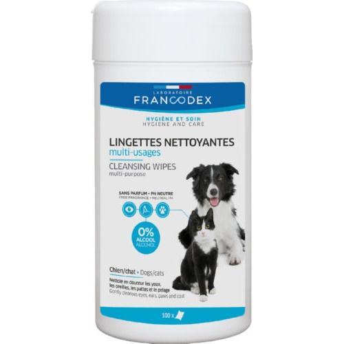 Toalhitas limpadoras multiusos para cães e gatos Francodex