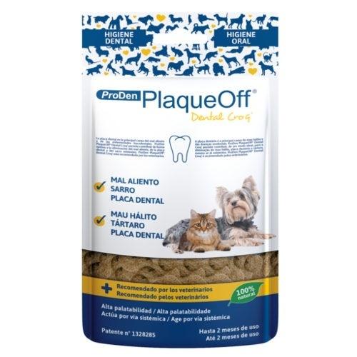 Snack dental para cães e gatos PlaqueOff Dental Croq