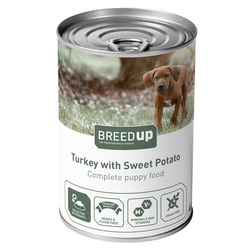 Comida húmida para cães Breed Up Puppy de peru com batata doce
