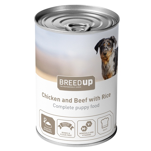 Comida húmida para cães Breed Up Puppy de frango e vitela com arroz