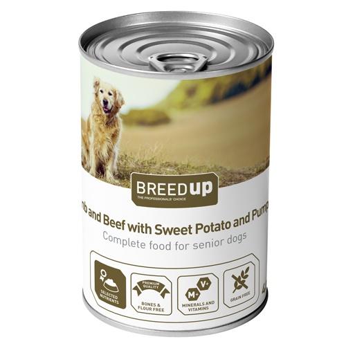 Comida húmida para cães Breed Up Senior de cordeiro e vitela com batata doce e abóbora