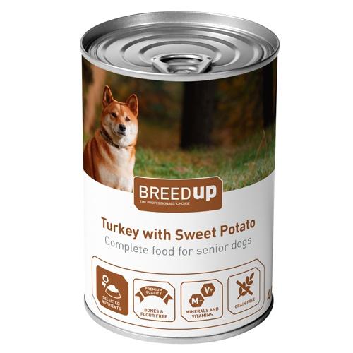 Comida húmida para cães Breed Up Senior de peru com batata doce