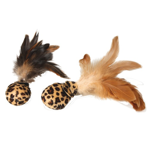 Bolas suaves com penas para gatos