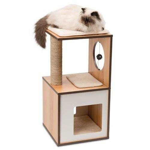 Móvel arranhador pequeno para gatos V-Box Vesper cor nogueira