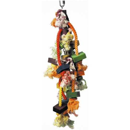 Brinquedo de cordas e madeira para papagaios