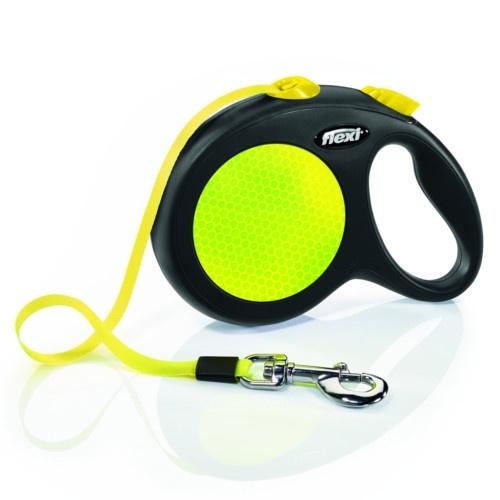 Flexi New Neon trela extensível de fita amarela