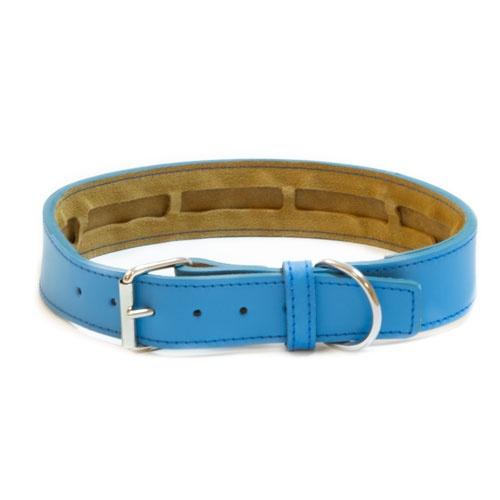 Coleira de couro TK-Pet Clásico azul