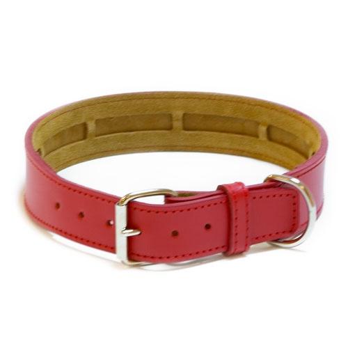 Coleira de couro TK-Pet Clásico vermelha