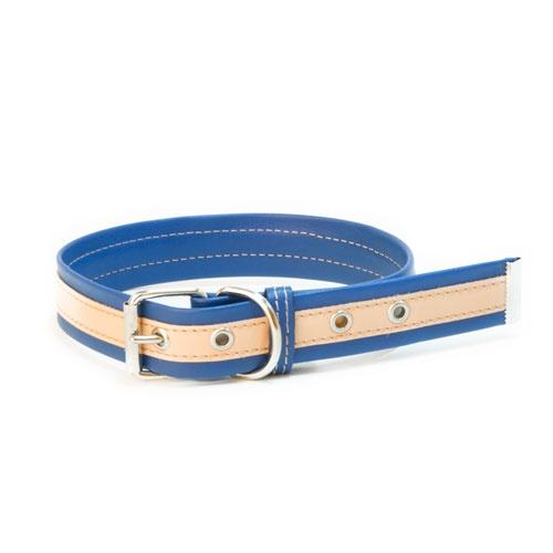 Coleira de couro TK-Pet Luxe bicolor azul
