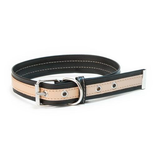 Coleira de couro TK-Pet Luxe bicolor preta