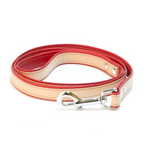 Trela de couro TK-Pet Luxe bicolor vermelha