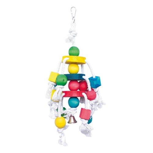 Brinquedo com madeiras e cordas para papagaios