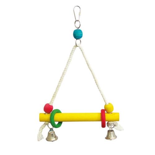 Baloiço de madeira e corda para papagaios