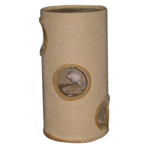 Torre arranhador com buracos para gatos bege