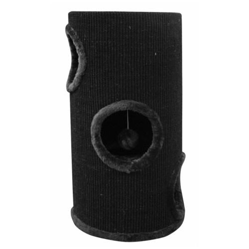 Torre arranhador com buracos para gatos preta