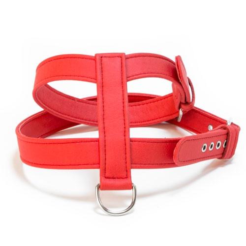 Arnês de couro sintético TK-Pet Técnico vermelho