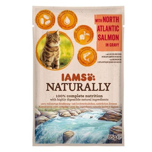 IAMS Naturally húmido com salmão para gatos