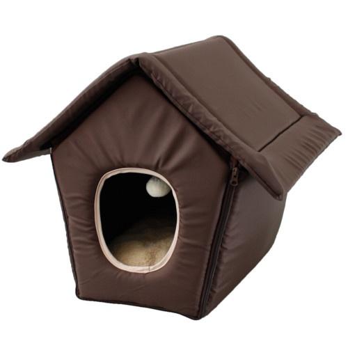 Casa dobrável para gatos castanha