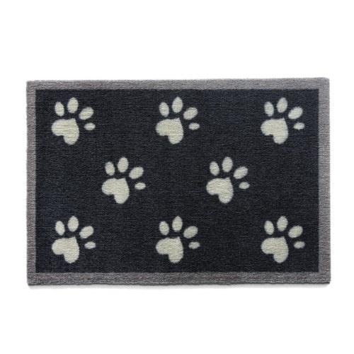 Capacho canino preto com pegadas