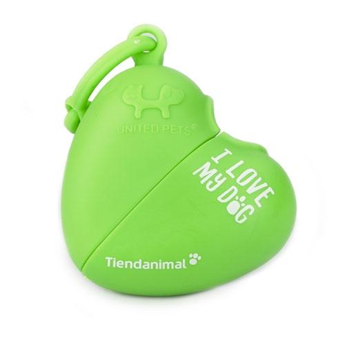 Dispensador de sacos de coração Tiendanimal verde