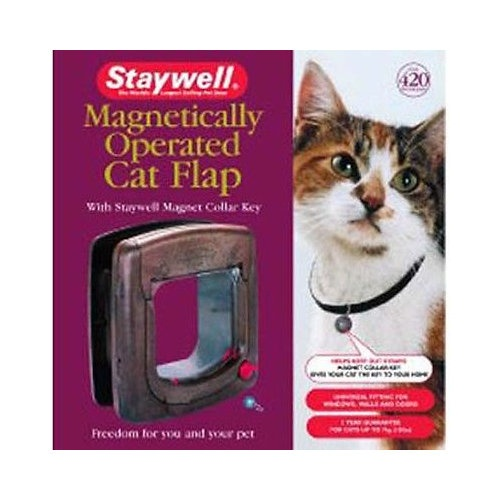 Porta para gatos Staywell magnética castanha