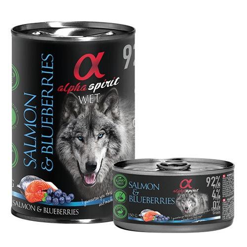 Alpha Spirit comida húmida salmão com mirtilos
