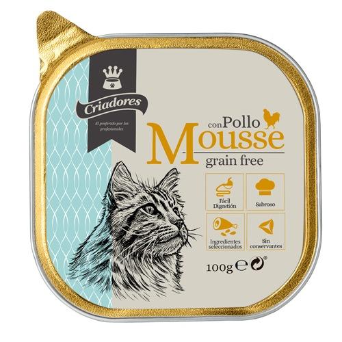 Criadores Mousse grain free com frango para gatos