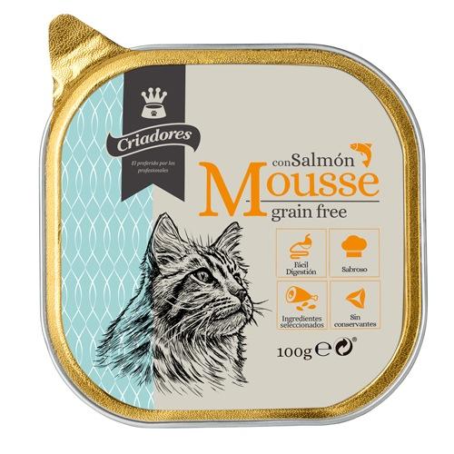 Criadores Mousse grain free com salmão para gatos