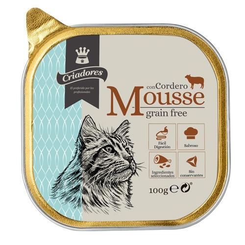 Criadores Mousse grain free com cordeiro para gatos