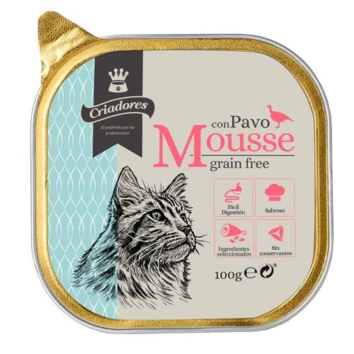 Criadores Mousse grain free com peru para gatos
