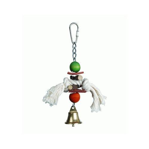Brinquedo de madeira e couro para pássaros