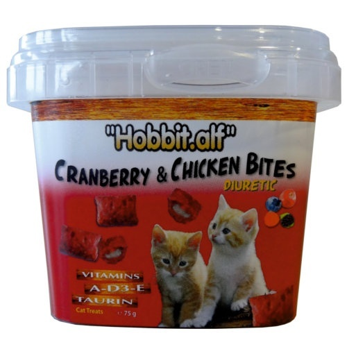 Snack diurético com frutos vermelhos para gatos