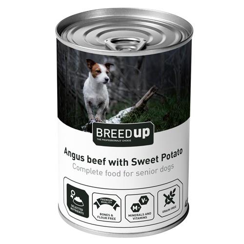 Comida húmida Breed Up vitela com batata doce para cães sénior