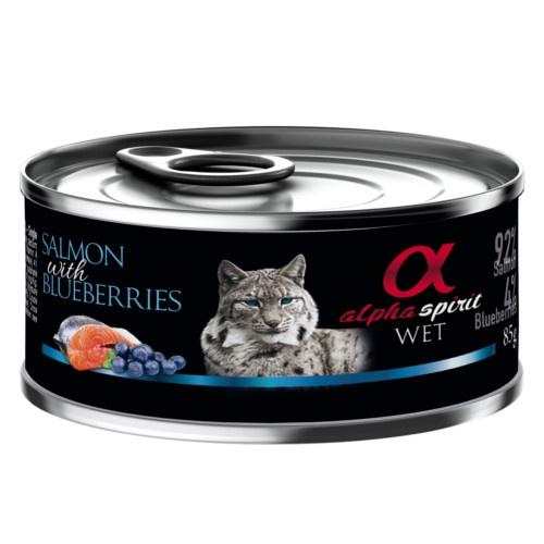 Alpha Spirit húmido salmão com mirtilos para gatos