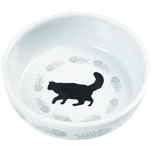 Comedouro de cerâmica gato e peixes